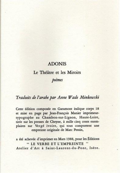 Adonis Le théâtre et les miroirs (2)